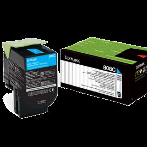Lexmark 808 Cyan Cartridge   CX310/410/510   808C Low Yield Toner
