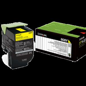 Lexmark 808 Yellow Cartridge   CX310/410/510   808Y Low Yield Toner